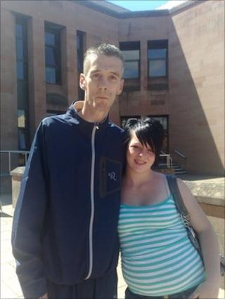 Marvin Baird and Dayna McLaughlin outside court