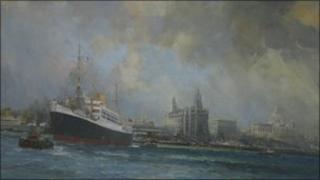 Ferry Boats by Pier Head, by Frank Henry Mason