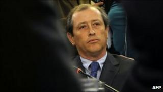 The CEO of Chilean San Jose mine, Alejandro Bohn takes part in a session of the Chilean national Congress in Valparaiso, on August 31, 2010