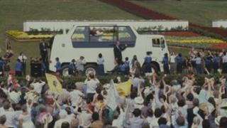 The Popemobile in Bellahouston Park, 1982