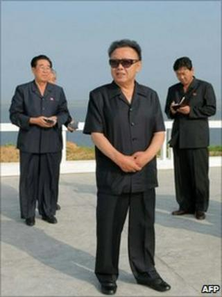 Undated image from KCNA news agency shows Kim Jong-il visiting North Pyongan Province on 17 July 2010