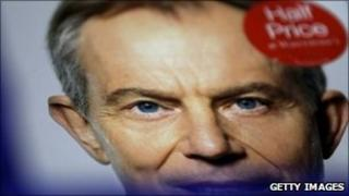 Tony Blair book on shelves