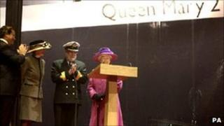 The Queen launches the ship