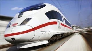 A Deutsche Bahn ICE train