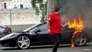 Burning Ferrari 458
