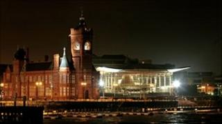 Welsh assembly at night, Cardiff Bay