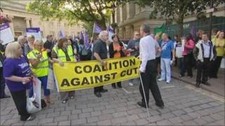 Protesters outside Bolton Town Hall