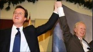 David Cameron and UUP leader Sir Reg Empey