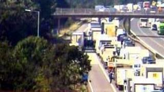 M5 congestion after lorry fire
