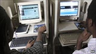 Nigerians browse the internet at a cybercafe in Lagos