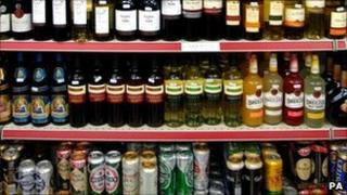 Alcohol on display in off-licence