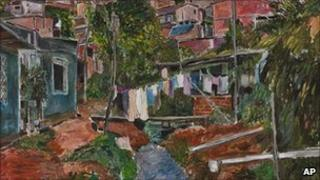 Favela Villa Broncos, acrylic on canvas from the Bob Dylan exhibition The Brazil Series