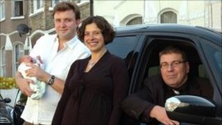 taxi driver Iain Coombes with Matthew Scutt, partner Ayse and son Emre