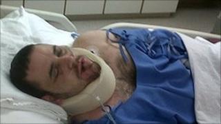 Tom Moss in hospital in Bangkok