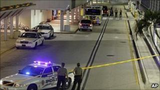 Police and fire rescue officers, arrival level, Miami International Airport, early morning, Friday 3 September