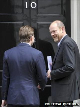 BBC director general Mark Thompson (right) at No 10 along with John Tate, BBC director of policy and strategy. Image: Political pictures