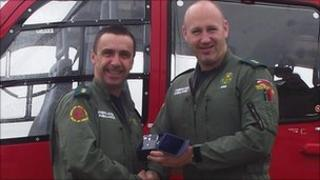 Mark Timmins (left) receiving locality award from Ian Binnington