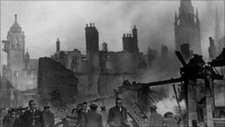 Coventry city centre - the morning after the Blitz destroyed three quarters of it