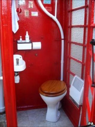 Interior view of the toilet conversion