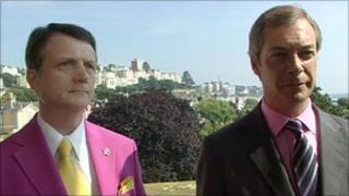 Gerard Batten and Nigel Farage in Torquay