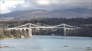 Menai Bridge between Angelesey and the north Wales mainland