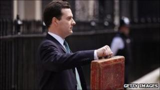 Chancellor George Osborne holds the budget box