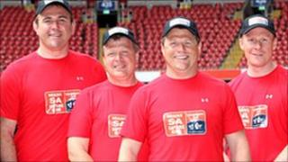 Scott Quinnell, Huw Evans, Scott Gibbs and Paul Thorburn