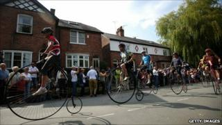 Penny farthing riders in Knutsford