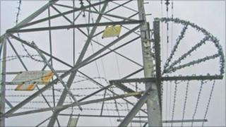 One of the damaged pylons at Lydney - image courtesy Central Networks