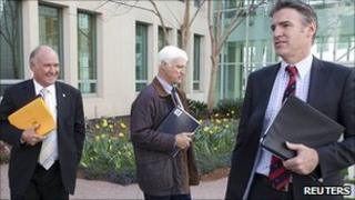 Tony Windsor, Bob Katter and Rob Oakeshott at Parliament House in Canberra. 6 Sept 2010
