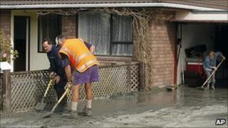 Residents of Kaiapoi clean up after the quake. 7 Sept 2010