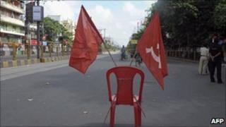 A deserted street in Kolkata on 7 September 2010
