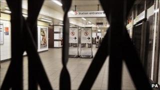 Gates down at Tube station