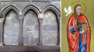 The shrine at St Davids Cathedral and the icon that will form part of the restoration project