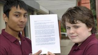 Sandwell Shadow Youth Cabinet members Faizul Islam and Callum Casey with an invitation letter to education secretary Michael Gove