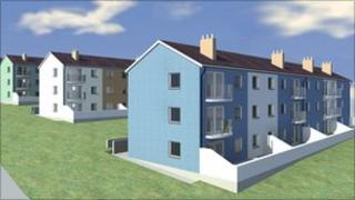 An artist's impression of how the homes will look after the make over