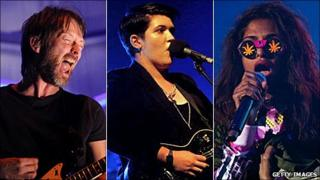 XL artists (left-right) Thom Yorke, The xx and MIA