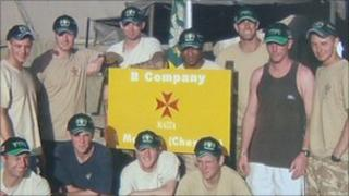 Troops wearing the Yeovil Town caps
