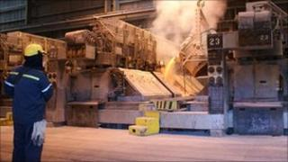 Smelting work at Anglesey Aluminium