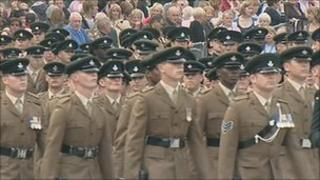 Three Rifles parade in Darlington