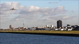 An aircraft takes off from London City Airport