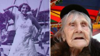 Elisabeth Holmes as a young woman and at Neath Fair on Wednesday