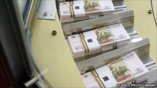 100-rouble notes printed at the Moscow Goznak Mint, in Moscow, Russia.