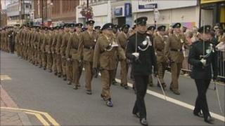 3 Rifles parade in Stockton