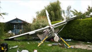 The plane in a garden in Woodlands Road