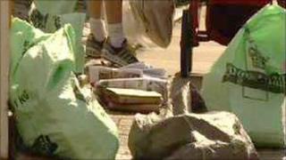 Post and sacks on the street
