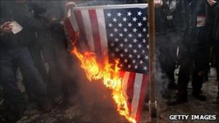 Burning US flag