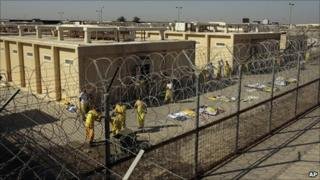 Detainees outside a cell block at Camp Cropper in Baghdad, Iraq