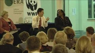 David Miliband and Diane Abbott with observers