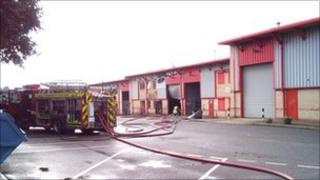 Fire engine at Whitemoor Industrial Estate